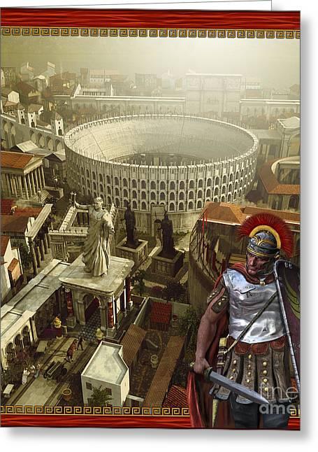 Roman Legionnaire With A Roman City Greeting Card by Kurt Miller