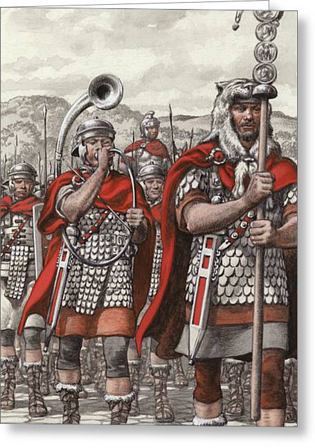 Roman Legions Marching Behind Their Standard Greeting Card by Pat Nicolle