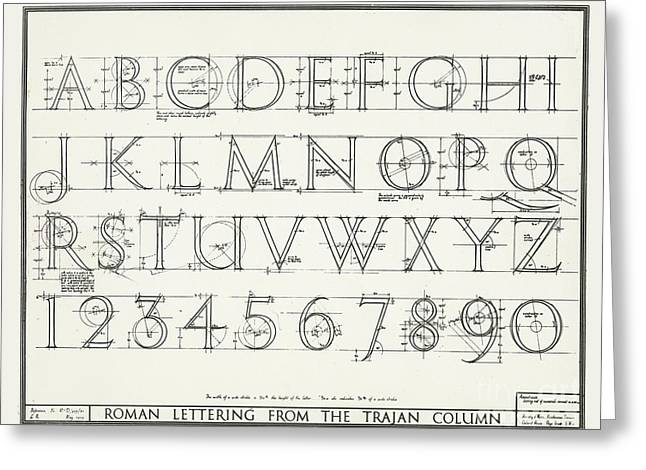 Roman Lettering From The Trajan Column Greeting Card by English School