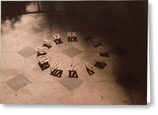 Roman Numerals On Floor Greeting Card by Elspeth Ross