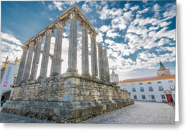 Roman Temple At Evora Greeting Card