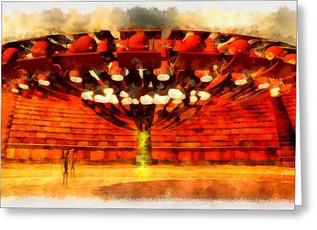 Roman Ufo Greeting Card by Esoterica Art Agency