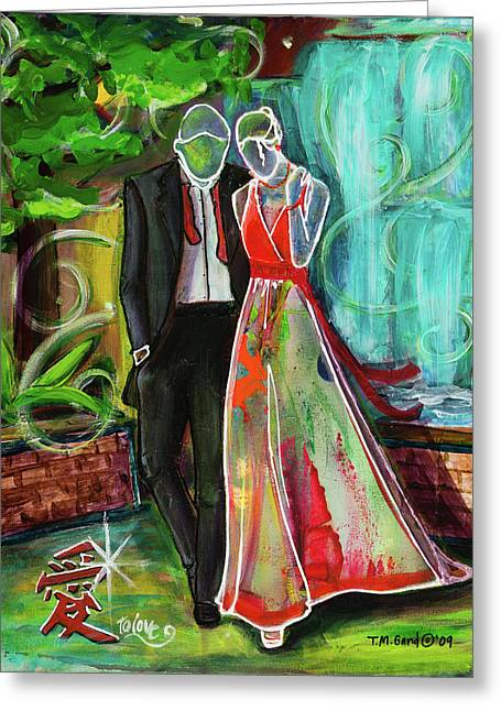 Greeting Card featuring the painting Romance Each Other by TM Gand