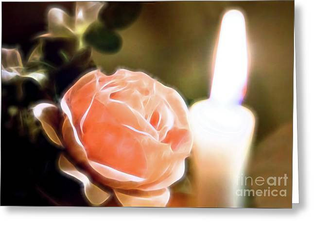 Greeting Card featuring the digital art Romance In A Peach Rose by Linda Phelps