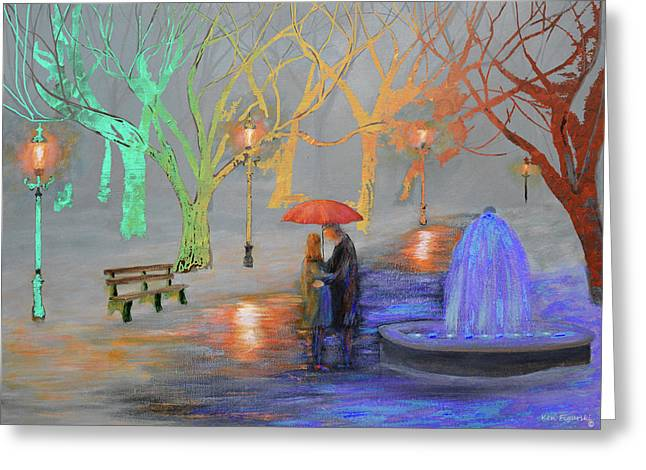 Romance In A Colorful Park Greeting Card by Ken Figurski