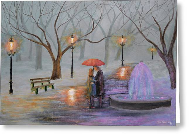 Romance In The Park Greeting Card