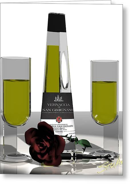 Romance Italian Contemporary Wine Greeting Card