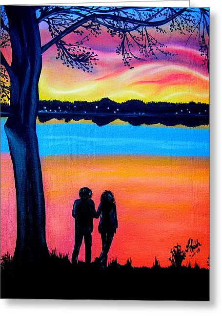 Romance On The Bay Greeting Card by Kathern Welsh