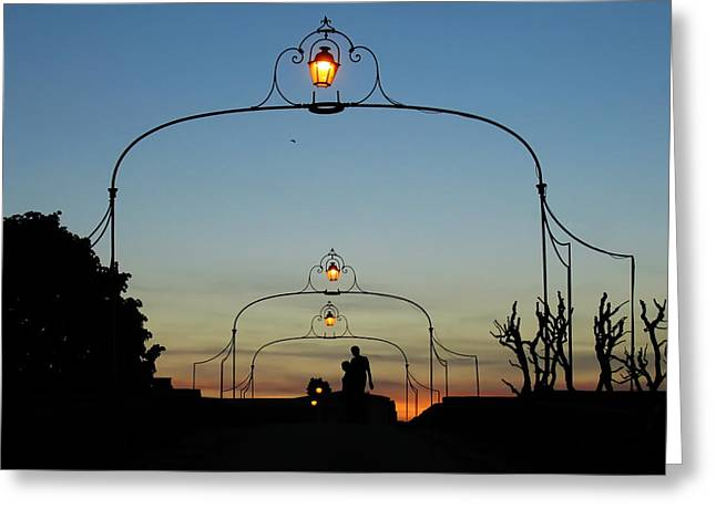 Romance On The Old Lantern Bridge Greeting Card