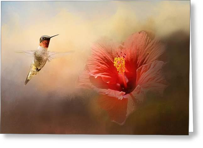 Romancing The Hibiscus Greeting Card by Jai Johnson