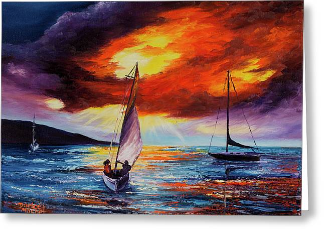 Greeting Card featuring the painting Romancing The Sail by Darice Machel McGuire
