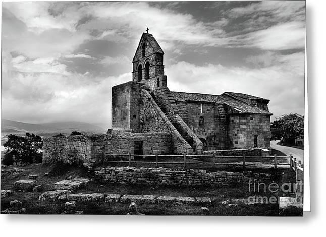 Romanesque Church Of Santa Maria De Retortillo Bw Greeting Card by RicardMN Photography