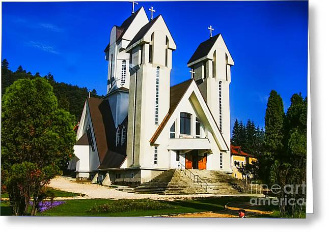Romanian Church Greeting Card by Rick Bragan