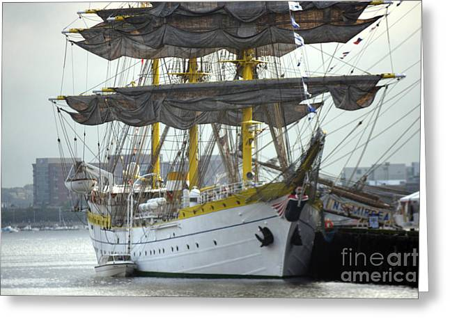 Romanian Tall Ship Greeting Card by Jim Beckwith