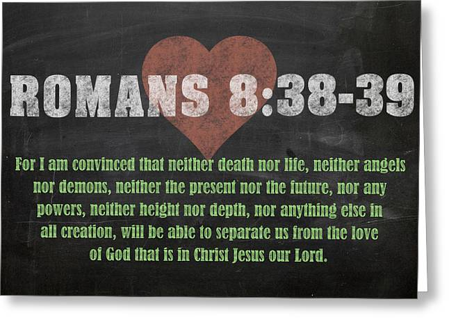 Romans 8 38-39 Inspirational Quote Bible Verses On Chalkboard Art Greeting Card