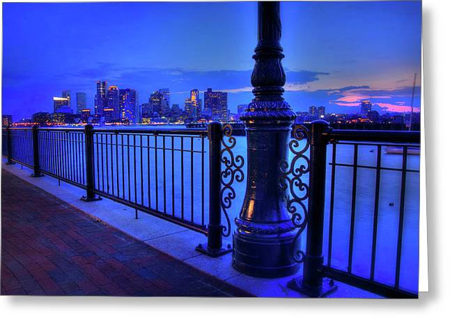 Romantic Boston - Boston Skyline At Night Greeting Card