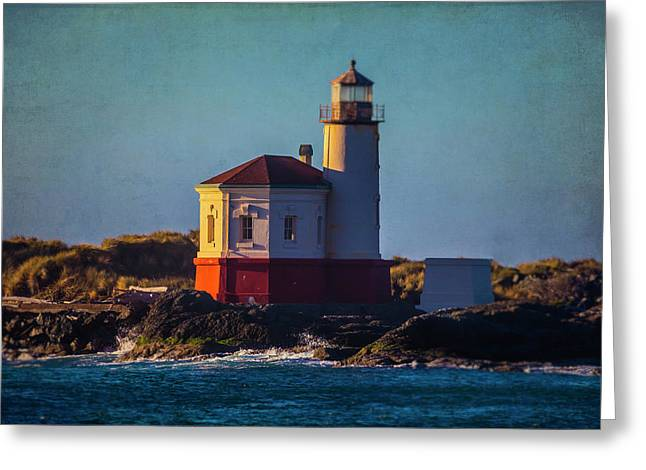 Romantic Coquille River Lighthouse Greeting Card by Garry Gay