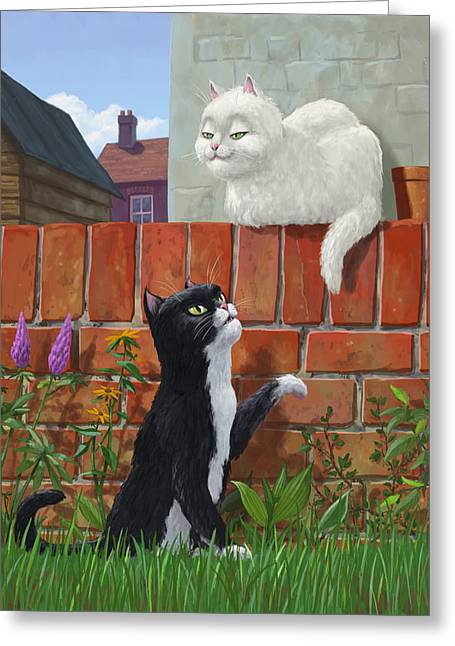 Romantic Cute Cats In Garden Greeting Card by Martin Davey
