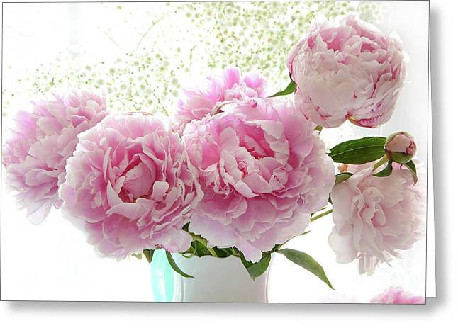 Romantic Dreamy Shabby Chic Cottage Pink Peonies Print - Peony Bouquet White Vase Greeting Card