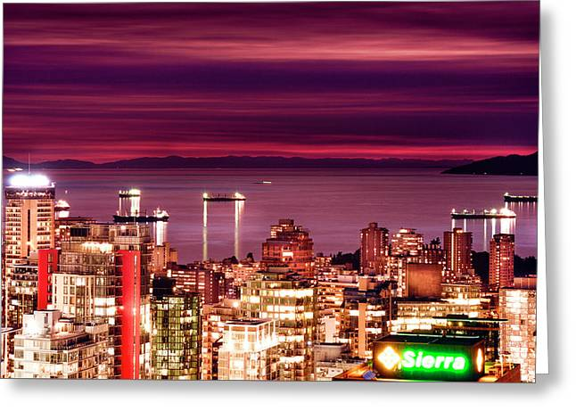 Romantic English Bay Greeting Card by Amyn Nasser