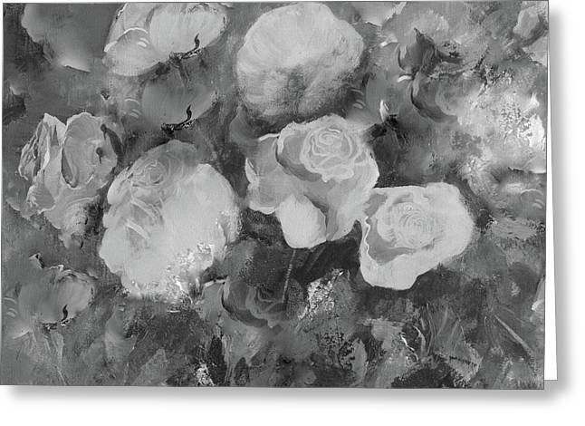Greeting Card featuring the painting Romantic Large Roses  by Robin Maria Pedrero