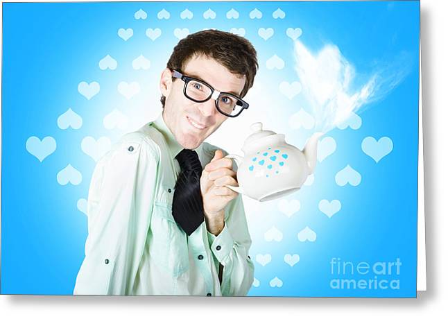Romantic Male Dork Offering Coffee Love To Date Greeting Card by Jorgo Photography - Wall Art Gallery