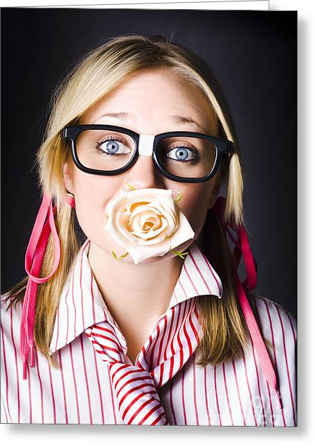 Romantic Nerd Flower Girl With Expression Of Love Greeting Card by Jorgo Photography - Wall Art Gallery