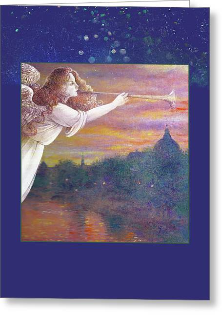 Romantic Paris Nocturne With Angel Greeting Card