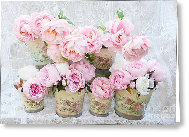 Romantic Peonies - Shabby Chic Cottage Garden Pink Peonies Greeting Card