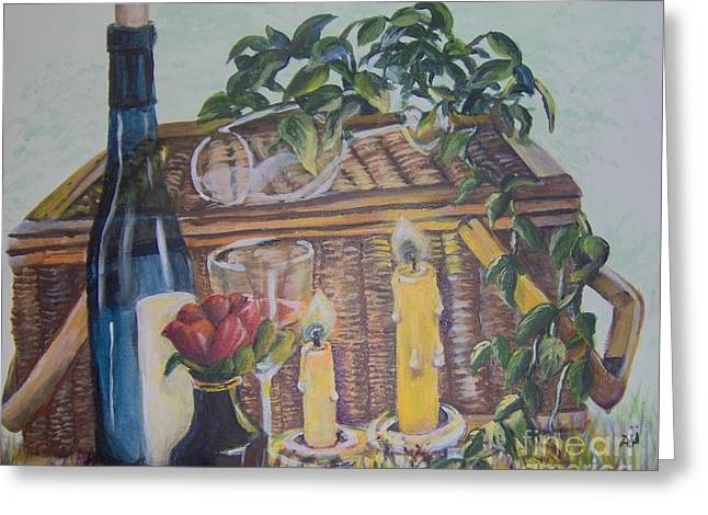 Greeting Card featuring the painting Romantic Picnic by Saundra Johnson