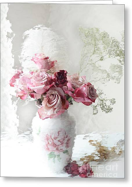 Romantic Pink Red Roses Impressionistic Floral - Shabby Chic Romantic Pink And Red Roses Greeting Card by Kathy Fornal
