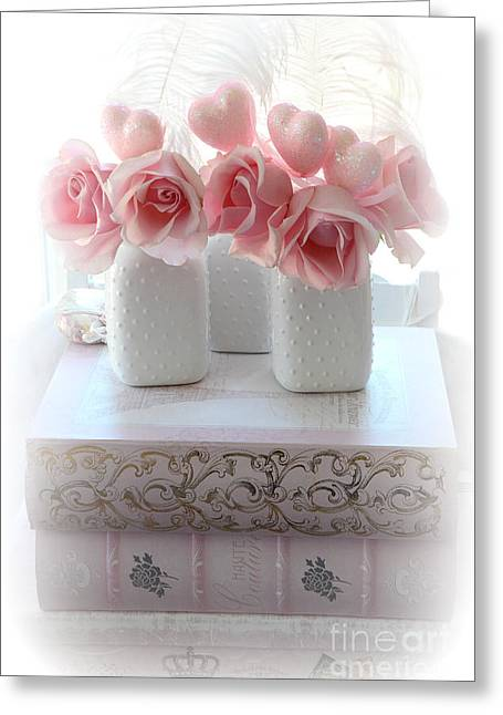 Romantic Pink Shabby Chic Roses Pink Books Hearts Valentine Decor  Greeting Card by Kathy Fornal