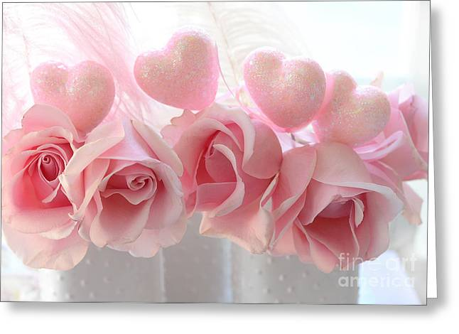 Romantic Pink Shabby Chic Valentine Hearts And Roses - Valentine Roses Pink And White Hearts Decor Greeting Card by Kathy Fornal
