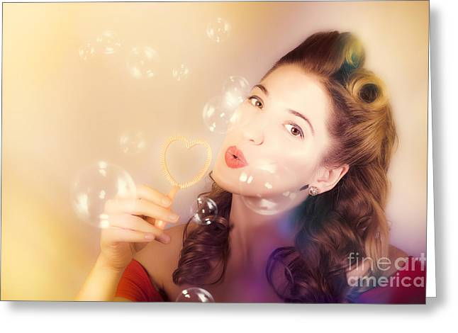 Romantic Pinup Girl. Retro Summer Party Greeting Card by Jorgo Photography - Wall Art Gallery