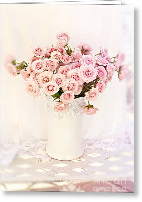 Romantic Shabby Chic Cottage Pink Roses In White Vase - Dreamy Pink Roses Floral Decor Greeting Card