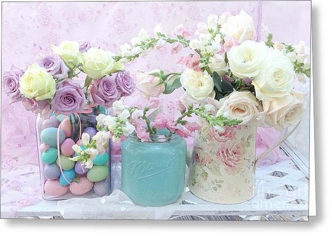 Romantic Shabby Chic Pastel Pink Aqua White Roses - Shabby Chic Spring Romantic Floral Art Greeting Card by Kathy Fornal
