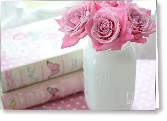 Romantic Shabby Chic Pink And White Roses - Pink Roses In White Mason Jar Greeting Card by Kathy Fornal