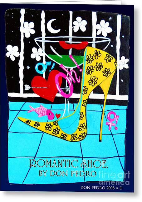 Greeting Card featuring the painting Romantic Shoe by Don Pedro De Gracia
