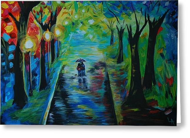 Greeting Card featuring the painting Romantic Stroll by Leslie Allen