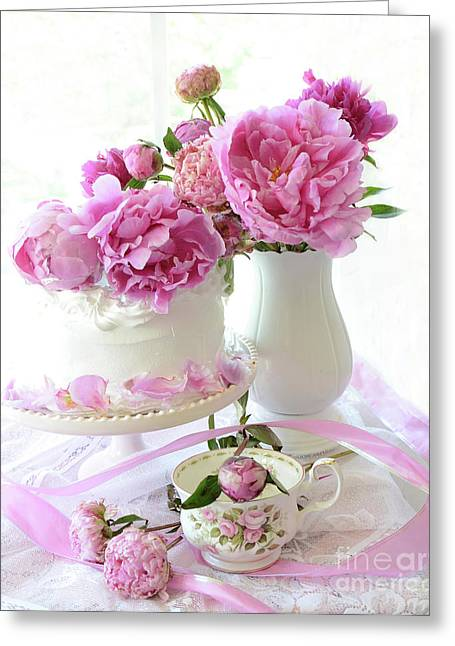 Romantic Valentine Pink Peony Decor - Shabby Chic Cottage Peony Wall Decor  Greeting Card by Kathy Fornal
