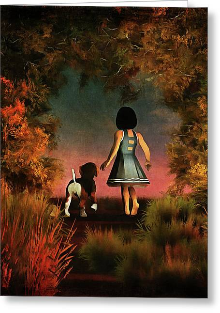 Romantic Walk In The Woods Greeting Card