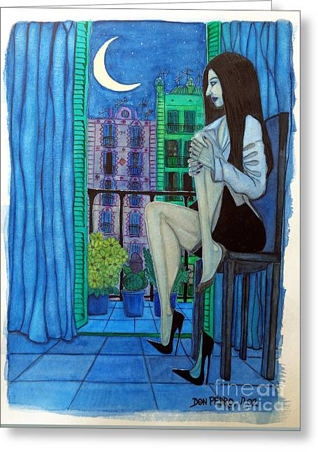 Greeting Card featuring the painting Romantic Woman At Balcony by Don Pedro De Gracia