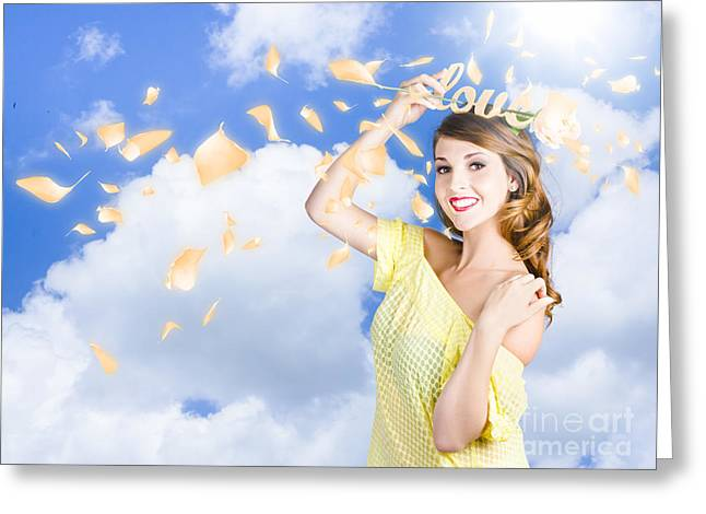 Romantic Woman Dreaming Of A Sky Filled Romance Greeting Card