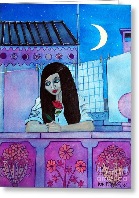 Greeting Card featuring the painting Romantic Woman In The Terrace At Night by Don Pedro De Gracia