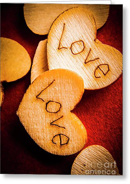 Romantic Wooden Hearts Greeting Card