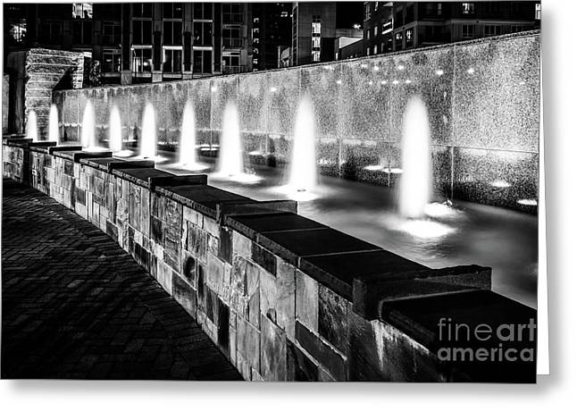 Romare Bearden Park Fountain Black And White Photo Greeting Card by Paul Velgos