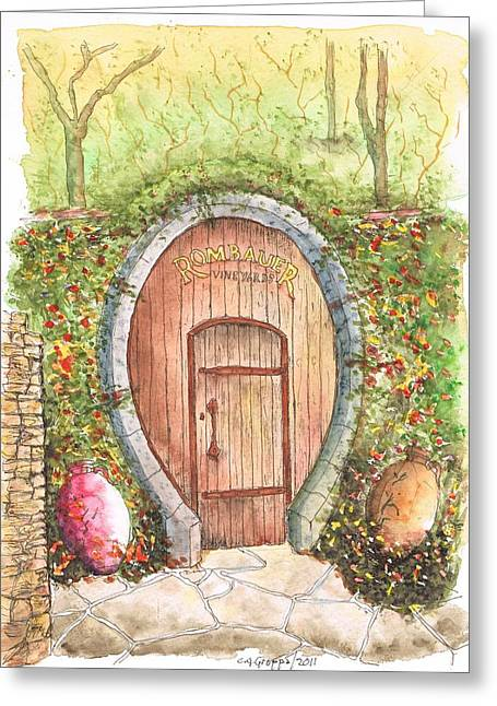 Rombauer Vineyard Entrance Door, California Greeting Card