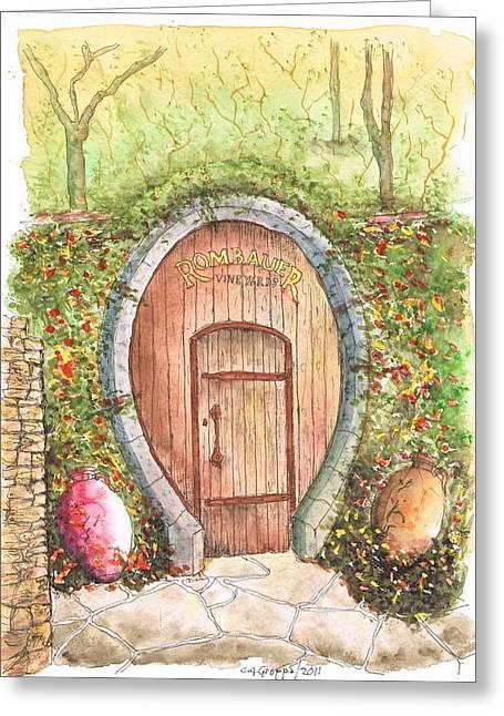 Rombauer Vineyard Entrance Door, California Greeting Card by Carlos G Groppa