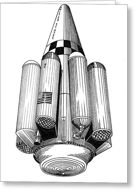 Greeting Card featuring the drawing Rombus Heavey Lift Reusable Rocket by Jack Pumphrey