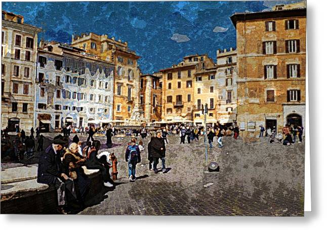 Rome - Piazza Della Rotunda Greeting Card by Jen White
